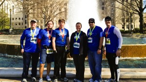 Finish line: Participating in the Mercedes Marathon were a group of runners from Lomax Assembly of God: Derrick Price, Fred Yarenko, Doug Mims, Amanda Price, Erric Price and Erron Price.