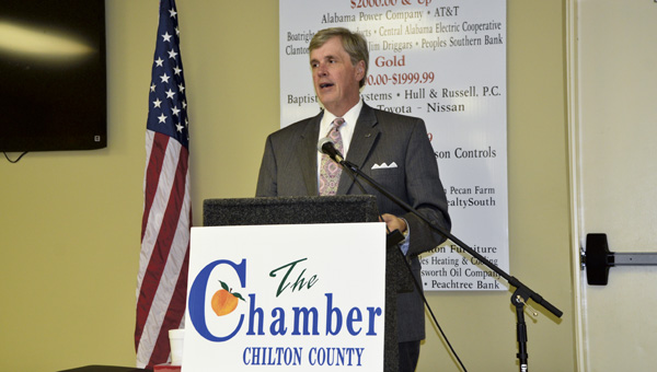 Jim Searcy, executive director of the Economic Development Association of Alabama, addresses guests at the Chilton County Chamber of Commerce luncheon Tuesday afternoon.