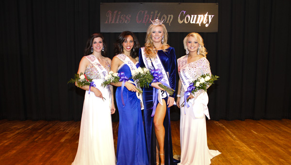 Miss Chilton County court winners were: Mary Elizabeth Gasson, Miss Congeniality; Katie Hilyer, queen and swimsuit winner; Kristen Robbins, first alternate; Catherine Rowe, second alternate and talent winner.