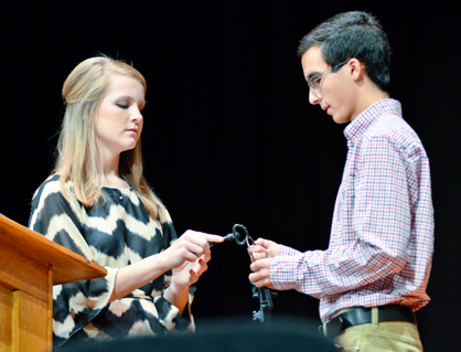 """Chilton County High School Beta Club Treasurer Olivia Ricks (left) and President Nicholas Lyn talk about the """"four keys that will unlock almost any door in life."""""""