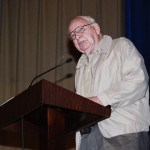 World War II veteran Early Popwell speaks to an assembly at Verbena High School on Friday about his time in the U.S. Army.