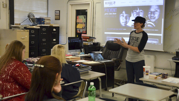 The founder of Rescue 1 Global from Nashville, Tenn. Lacy Tolar spoke to a group of students at Jemison High School on Tuesday educating them about human trafficking.