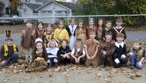 First grade students from Thorsby High School dressed up like pilgrims and Indians for a Thanksgiving meal served at the school.