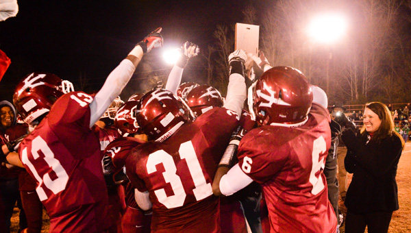 Maplesville players celebrate after defeating Brantley on Friday to secure a berth in the Class 1A state championship game.