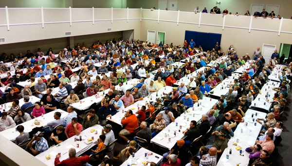 Full house: Nearly 600 people attended Union Springs Baptist Church's Hunting Season Kickoff event Saturday, where dinner was served and the Gospel shared.
