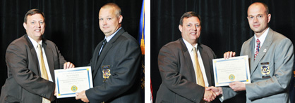 Passing grades: Clanton Police Department Capt. David Clackley (left photo, right) and Capt. Neil Fetner (right photo, right) graduated from the 25th Southeastern Law Enforcement Executive Development Seminar.