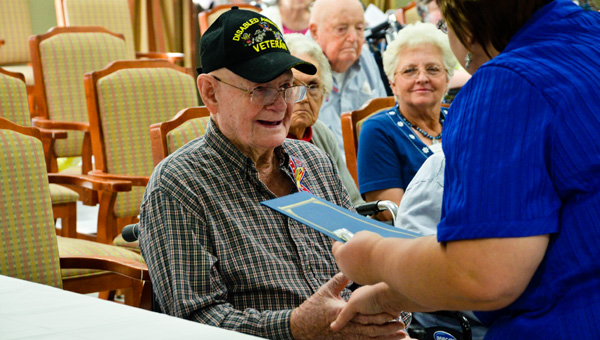 Deserved recognition: Lewis Brown, a resident at Hatley Health Care, was one of several veterans recognized at a special service on Thursday.