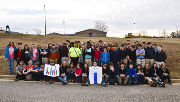 Students at Jemison Middle School collected 435 coats to donate to the SonLight Center in Jemison this year.