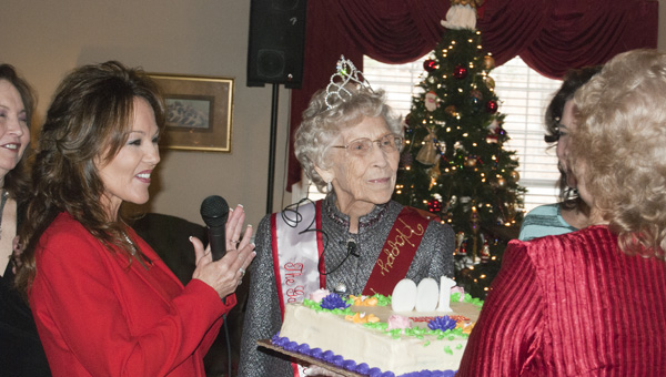 Miller (center) will turn 100 Dec. 14 and she celebrated her special birthday in front of her family and friends Friday at the Gardens of Clanton Assisted Living.