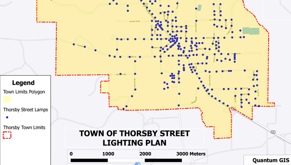 Lit up: This example of a map produced by the QGIS program shows where street lights are located in Thorsby.