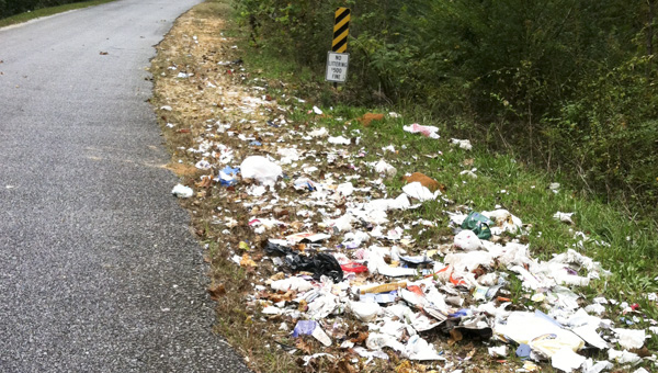 State and county officials are hoping to educate hunters on where to properly dispose of any parts from the leftover animal after recent litter found in Chilton County. County Road 216 (pictured) is an example of some of the litter being dumped on the side of the road. (Contributed)