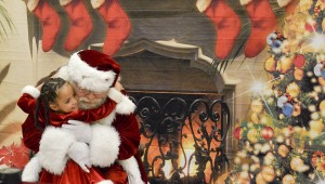 Sarrell Dental sponsored free pictures with Santa Claus. A little girl runs to give Santa Claus a hug before having her picture taken.