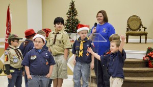 Jemison Cub Scout Pack 74 handed out peppermints to each guest attending Thursday's event.