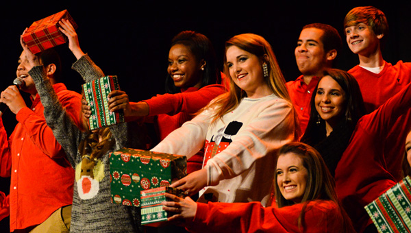 "Got gifts: Chilton County High School students perform ""It's Beginning to Look a Lot Like Christmas/We Need a Little Christmas"" on Dec. 19 as part of the first Christmas Spectacular, a show held to raise money to re-pave the school's front parking lot."
