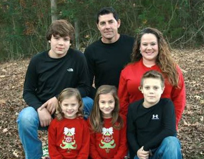 Cancer survivor: Leah Baker with her husband Todd and children Jackson, Jacie, Jenna and Josie. (Contributed photo)