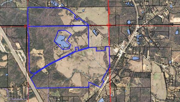 This map shows the property, outlined in blue, that the county and city of Clanton plan to purchase jointly. Interstate 65 can be seen running to the left of the property, while Highway 145 is to the right. (CONTRIBUTED)