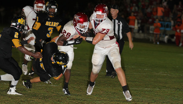 Maplesville offensive lineman Devan Wallace (No. 73), shown in a game earlier in the season, helped the Red Devils to a 54-18 win over Ellwood Christian. (File photo)
