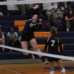 In the air: Jemison's Taylor Ray slams home a kill during the Panthers' win over Chilton County on Tuesday.  (By Brandon Sumrall)