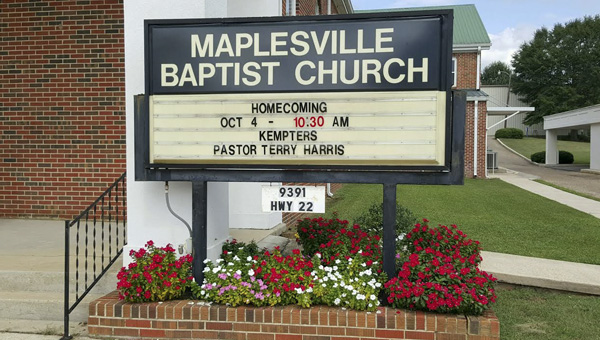 Maplesville Baptist Church will celebrate its 108th Homecoming Celebration Oct. 4. (Contributed photo)