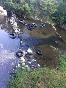 155 tires were found in a creek off of County Road 455 last week by Chilton County Litter Agent Libby Ratliff.