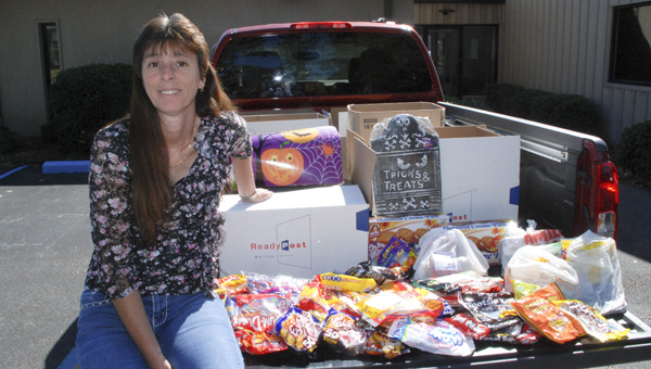 Two truckloads of Halloween candy was collected this month to send to troops currently stationed overseas. (Photo by Stephen Dawkins)
