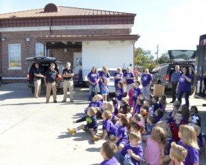 The children were able to watch two drones fly overhead at the Clanton Police Department.