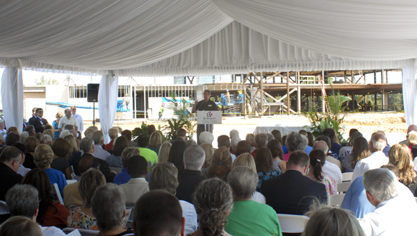 Large crowd: Chilton County Commission Chairman Allen Caton speaks to a large crowd at the ceremony.  (Photo by Stephen Dawkins)