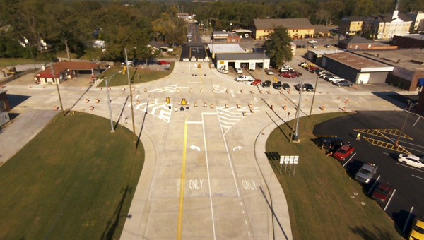 An aerial shot looks east across U.S. 31 at the newly improved intersection with Alabama 22 in downtown Clanton. The highways double as Seventh Street and Fourth Avenue North, respectively. (CONTRIBUTED)