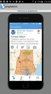 The general welcome page for the new emergency app the Chilton County Emergency Management Agency has started using.