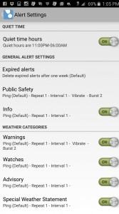 A screenshot of the settings menu allows users to choose alert options.