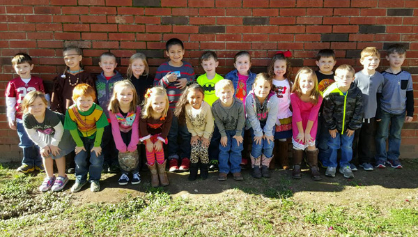Giving thanks: Mary Beth Easterling's kindergarten class at Thorsby shared what they are thankful for…and the best approach for cooking a delicious turkey for Thanksgiving. (Photo by Chanel Bingham)
