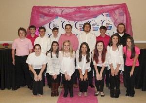 Chilton County High School SGA students gather for a photo at the Men in Pink: Pink Tie Affair Dinner on Nov. 5. The students helped serve food at the event, which was held at the Jemison Municipal Complex. (Contributed)