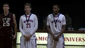 (Left to right) Christian Fortner, Reno Cleckler and Juwan Tyus pose after being honored as members of the Westminster Thanksgiving all-tournament team.