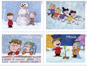 """Among the new stamps available for the Christmas season are those commemorating """"A Charlie Brown Christmas."""" (United States Post Office)"""