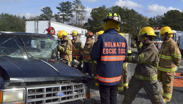 Students in the Public Service Academy at the LeCroy Career Technical Center practiced different extrication techniques.