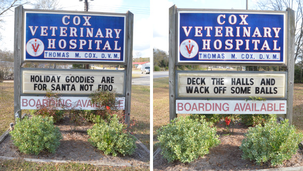 Attention grabber: The sign off Highway 31 north of Clanton for Cox Veterinary Clinic has been used to post messages about pet care during the holidays.