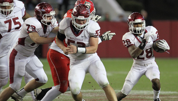 Excellence recognized: From left to right, Maplesville's Devan Wallace, Will Harrison and Terence Dunlap were three of the local high school football players named to the Alabama Sports Writers Association's All-State team. (File photos)