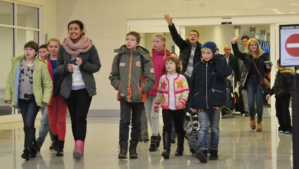 Welcome arrival: A group of Ukrainian orphans arrive in Alabama for a month-long stay at Bridgestone Retreat Center. (Contributed photos)