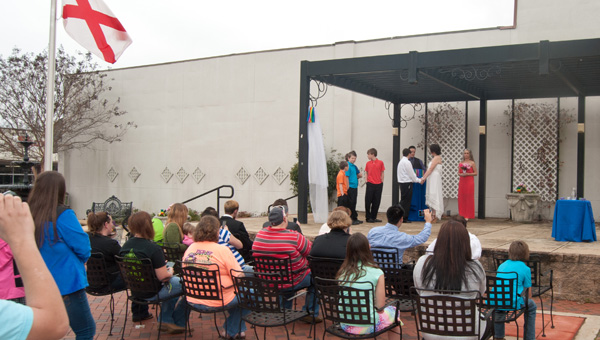 Same-sex wedding: Racheal Higgins and Amanda Bone married at Downtown Corner Park in Clanton in February, becoming Chilton County's first same-sex couple to wed. (File photo)