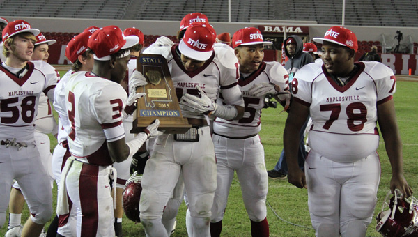 Maplesville players celebrate Thursday's win over Cedar Bluff in the Class 1A state championship game. (Photo by Brandon Sumrall)