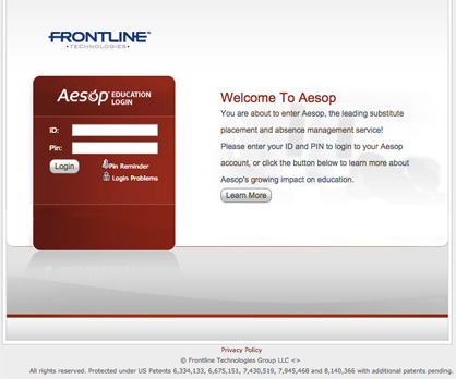 New system: The portal for Aesop Substitute Placement and Absence Management is found at www.aesopeducation.com.