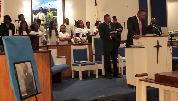 Children from Morningstar Baptist Church in Clanton and surrounding churches performed several songs during the fourth annual prayer breakfast Monday morning. The event honored the late civil rights leader Dr. Martin Luther King Jr. (Photo by Emily Reed)