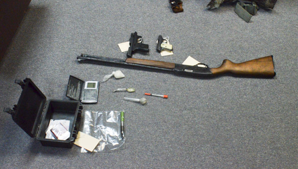 The possessions seized by the Maplesville Police Department after a suspicious vehicle resulted in three arrests on Jan. 5. (Photo by Anthony Richards)