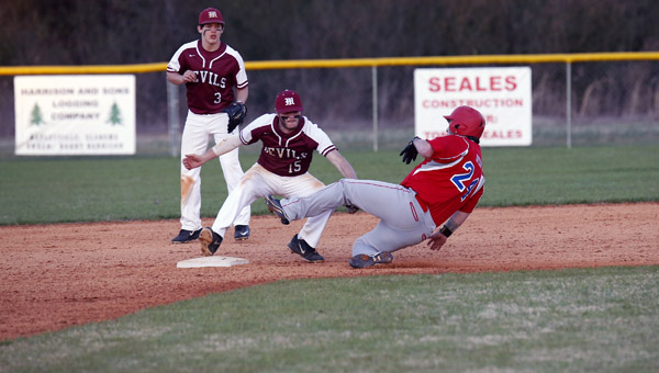 Verbena's Stephen Bryant slides into second base and just beats the tag attempt by Trevor Wallace of Maplesville. (Photo by Brandon Sumrall / Special)
