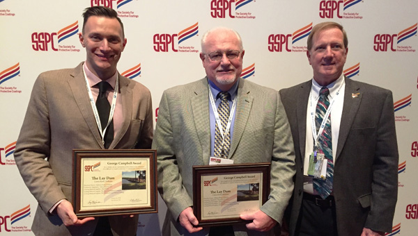 Award received: Roger Yeargan (center), hydro manager for Lower Coosa Hydro Plants, accepted the George Campbell Award during a national conference in San Antonio, Texas. Yeargan is pictured with Doug Pigue, manager with Vulcan Painters Inc., and Jeff Theo, VP Of Vulcan Painters Inc. (Contributed photos)