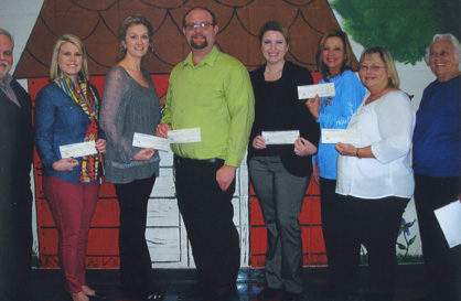 Rex Bittle (far left) and Betty Giles (far right) were on hand for grant presentations to teachers at Jemison Elementary School: Stacey Cummings ($350), Brittany Thomas ($250), Andrew Maddox ($350), Stacey Ray ($350), Patsy Smitherman ($350) and Lacy Brown (not pictured) ($350).