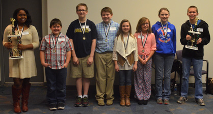 Stiff competition: In addition to Huntley (far left) and Tillery (far right), the other contestants were Logan Forbach of Jemison Elementary, Nathan Quesenberry of Jemison Middle, Jack Fitch of Thorsby, Campbell Easterling of Clanton Intermediate, Madison Davis of Isabella and Cheyann Barchard of Verbena.