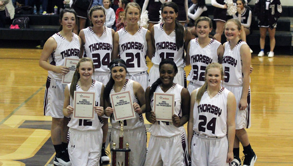 Thorsby's girls basketball squad won the Area 9-2A championship on Wednesday. The team includes: (back row) McKinley Sellers, Taylor Hayes, Lauren Reeser, Sabrina Ellison, Hannah Smith, Carlee Wyatt; (front row) Adi Argent, Lilly Barnett, Kerri Robinson and Lauren Wyatt. (Photo by Brandon Sumrall / Special)