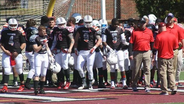The Prattville Patriots prepare to take the field prior to the start of its preseason game at Stanley Jensen Stadium in Prattville on Feb. 27. (Photo Contributed)