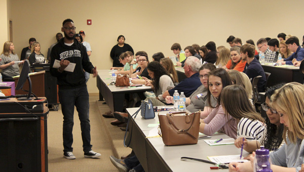 Jefferson State Community College student Deonte Worten speaks to a group of students Friday morning at Preview Day held at the Chilton-Clanton Campus. This was the first year the school hosted a Preview Day for high school seniors.  (Photo by Emily Reed)